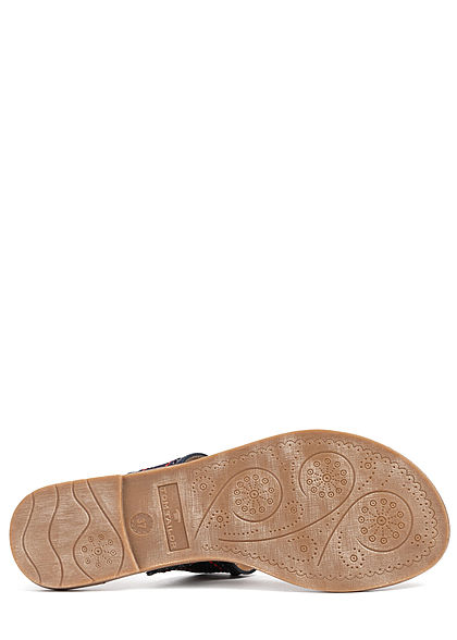 Tom Tailor Damen Schuh 2-Tone Sandale Zehensteg Logo vorne teilw. Kunstleder navy blau
