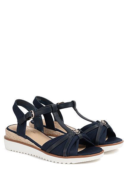 Tom Tailor Damen Schuh Sandale Keilabsatz 4cm navy blau