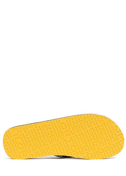 Tom Tailor Herren Schuh Badesandale mit Zehensteg schwarz gelb weiss
