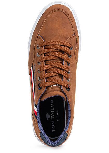 Tom Tailor Herren Schuh Kunstleder Sneaker zum schnüren cognac braun
