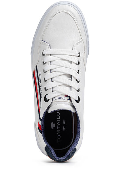 Tom Tailor Herren Schuh Kunstleder Sneaker zum schnüren weiss