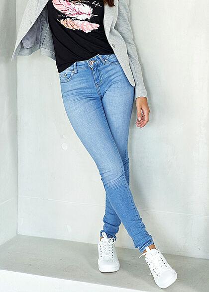 ONLY Damen NOOS Skinny Ankle Jeans Hose 5-Pockets Regular Waist hell blau denim