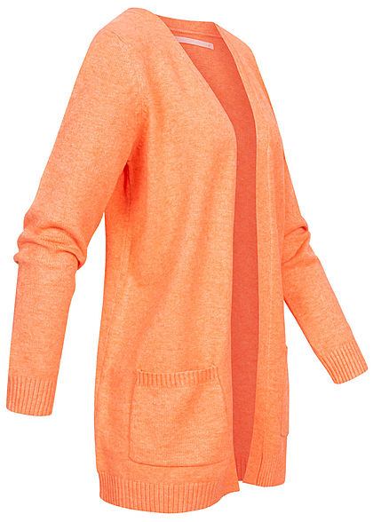 ONLY Damen NOOS Cardigan 2-Pockets offener Schnitt cantaloupe orange melange