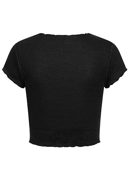ONLY Damen Ribbed Crop Top T-Shirt mit Wellendetails am Saum schwarz