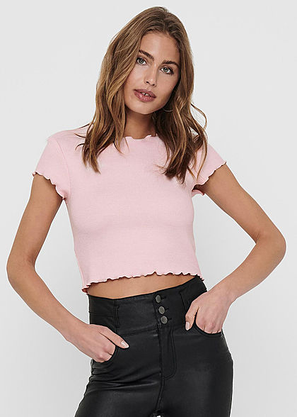ONLY Damen Ribbed Crop Top T-Shirt mit Wellendetails am Saum orchid pink rosa