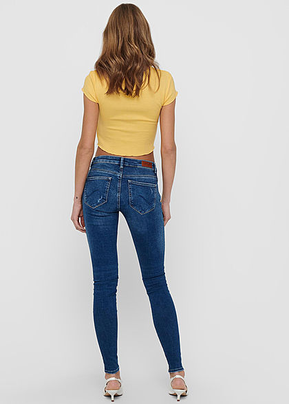 ONLY Damen Ribbed Crop Top T-Shirt mit Wellendetails am Saum cornsilk gelb
