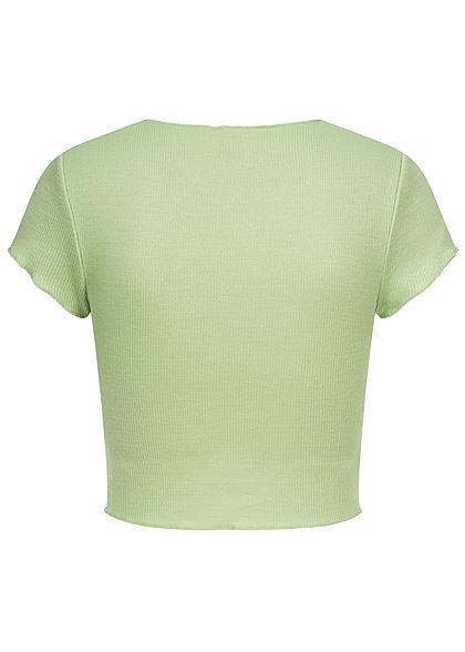 ONLY Damen Ribbed Crop Top T-Shirt mit Wellendetails am Saum sprucestone grün