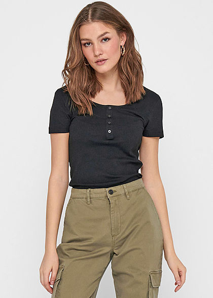 ONLY Damen Ribbed T-Shirt mit Knopfleiste vorne Slim Fit schwarz