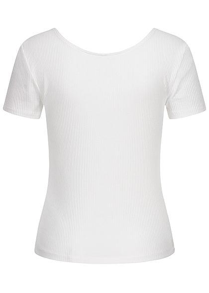 ONLY Damen Ribbed T-Shirt mit Knopfleiste vorne Slim Fit bright weiss