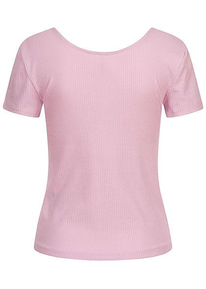 ONLY Damen Ribbed T-Shirt mit Knopfleiste vorne Slim Fit orchid bloom lila