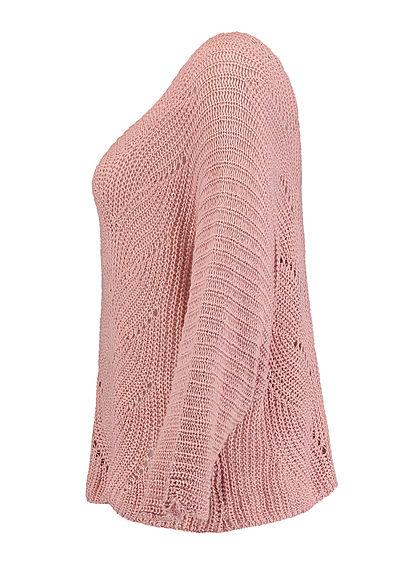 Hailys Damen Grobstrick Pullover mit Fledermausärmeln Strukturmuster blush rosa