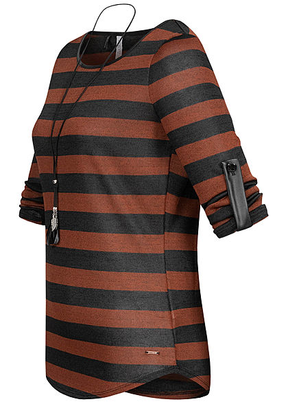 Hailys Damen 3/4 Arm Turn-Up Longsleeve Pullover Streifen inkl. Kette toffee braun