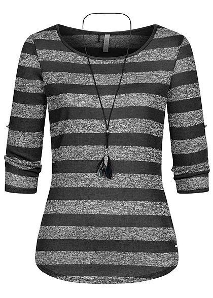 Hailys Damen 3/4 Arm Turn-Up Longsleeve Pullover Streifen inkl. Kette schwarz grau