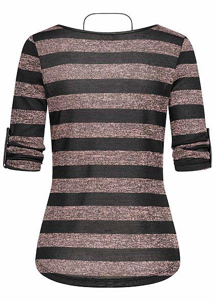 Hailys Damen 3/4 Arm Turn-Up Longsleeve Pullover Streifen inkl. Kette rosa schwarz