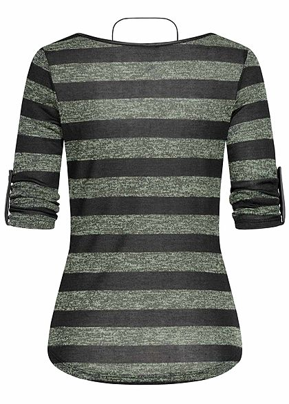 Hailys Damen 3/4 Arm Turn-Up Longsleeve Pullover Streifen inkl. Kette soft grün schwarz