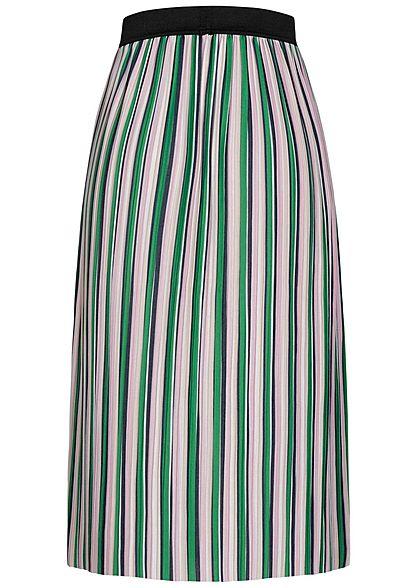 ONLY Damen Midi Multicolor Falten Rock Streifen Muster Gummibund jelly bean grün