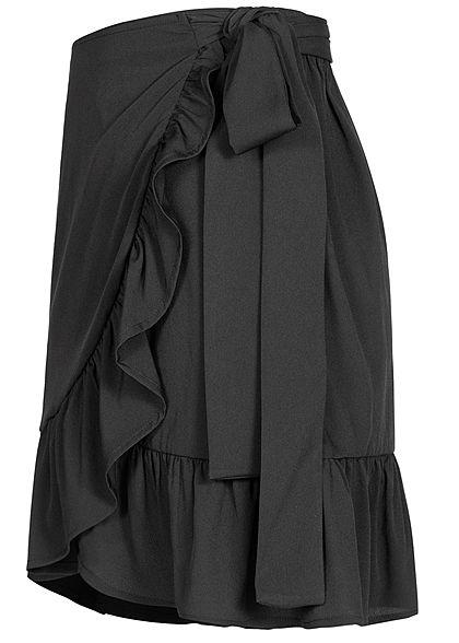 ONLY Damen NOOS Mini Wickelrock Verschluss seitlich schwarz