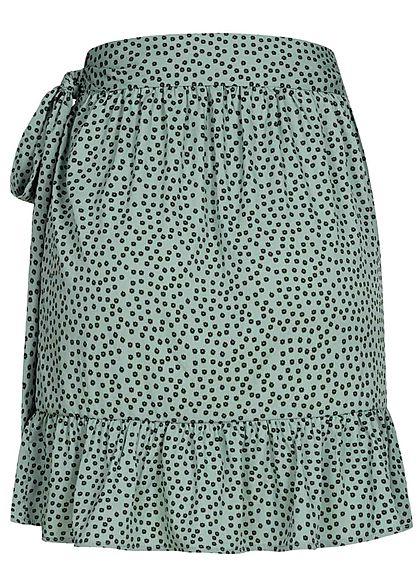ONLY Damen NOOS Mini Wickelrock Verschluss seitlich Punkte Muster chinois grün