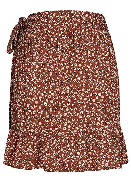 ONLY Damen NOOS Mini Wickelrock Verschluss seitlich Blumen Muster henna braun