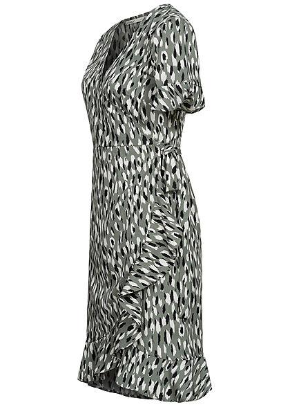 ONLY Damen NOOS V-Neck Kurzarm Wickelkleid zum binden Juni Punkte Muster balsam grün