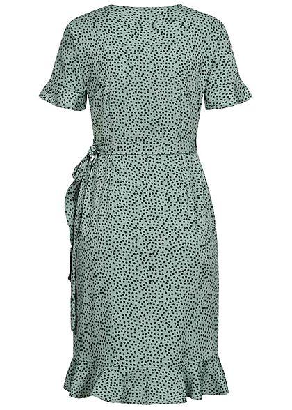 ONLY Damen NOOS V-Neck Kurzarm Wickelkleid zum binden Punkte Muster chinois grün