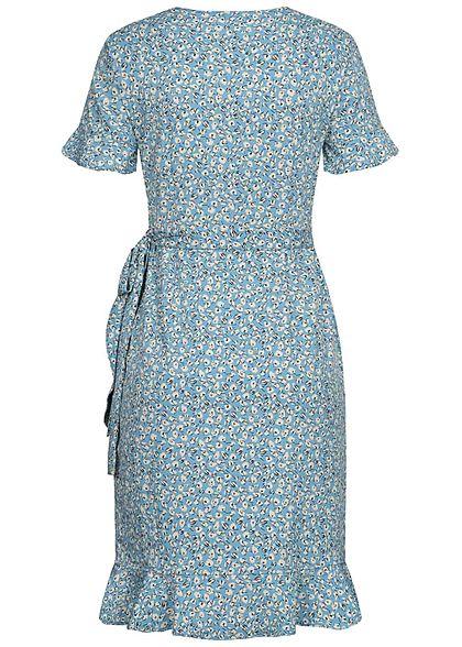 ONLY Damen NOOS V-Neck Kurzarm Wickelkleid zum binden Blumen Muster dusk hell blau