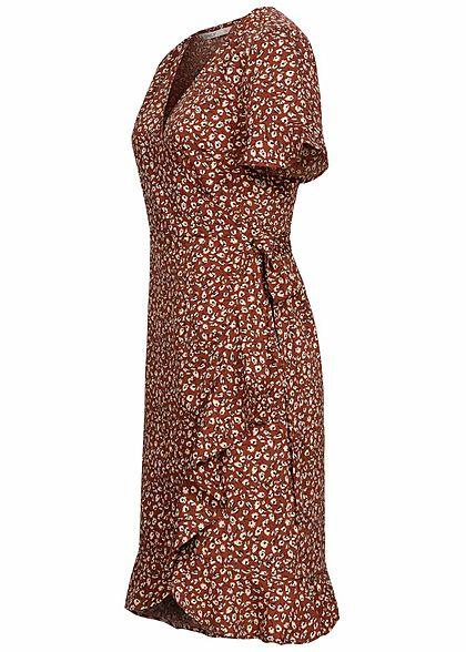 ONLY Damen NOOS V-Neck Kurzarm Wickelkleid zum binden Blumen Muster henna braun