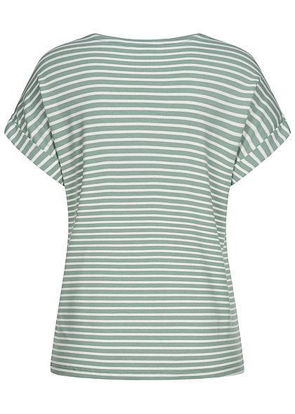 ONLY Damen NOOS T-Shirt Ärmelumschlag Streifen Muster jadeite grün weiss