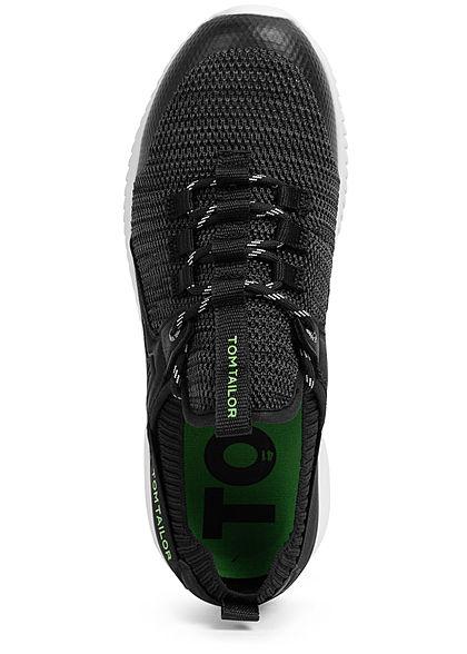 Tom Tailor Herren Schuh Struktur Sneaker zum schnüren schwarz lime grün