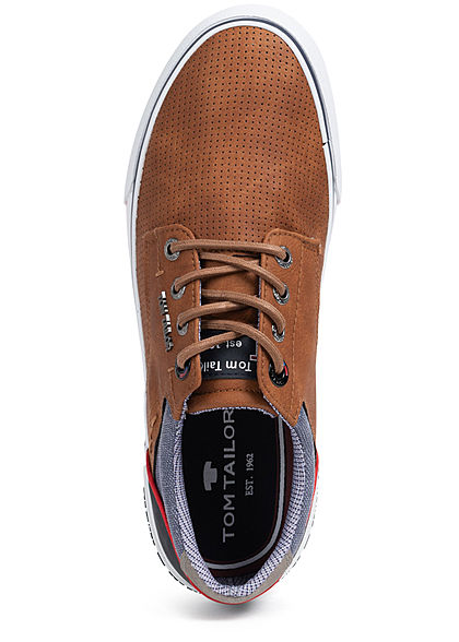 Tom Tailor Herren Schuh 3-Tone Kunstleder Sneaker Materialmix zum schnüren camel braun