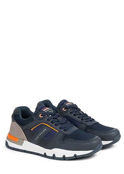 Tom Tailor Herren Schuh 3-Tone Kunstleder Sneaker Materialmix zum schnüren navy blau grau
