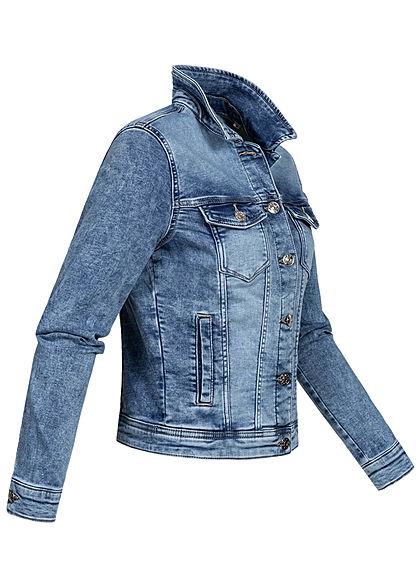 ONLY Damen kurze Jeans Jacke Knopfleiste 4-Pockets hell blau denim