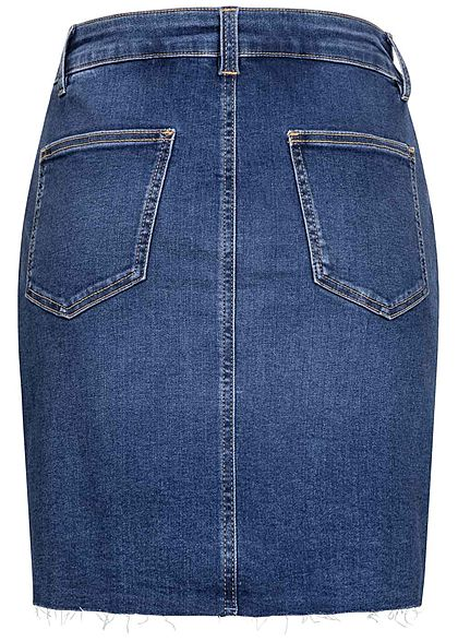 Tom Tailor Damen Jeans Rock mit offener Naht 5-Pockets used stone mid blau
