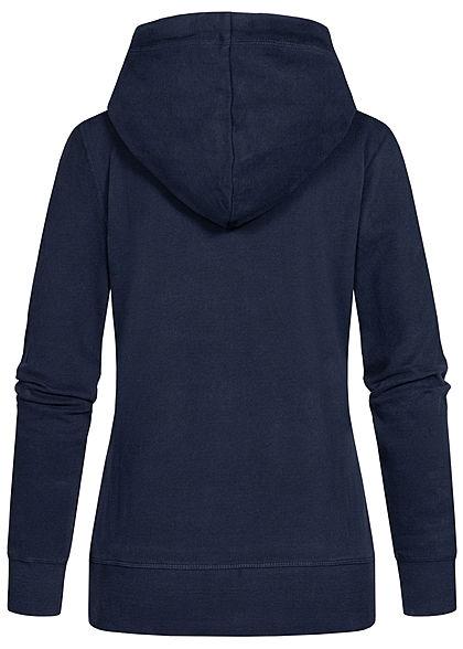 Tom Tailor Damen Logo Hoodie Kapuze Tunnelzug Kängurutasche Frontprint real navy blau
