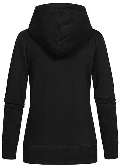 Tom Tailor Damen Logo Hoodie Kapuze Tunnelzug Kängurutasche Frontprint tief schwarz
