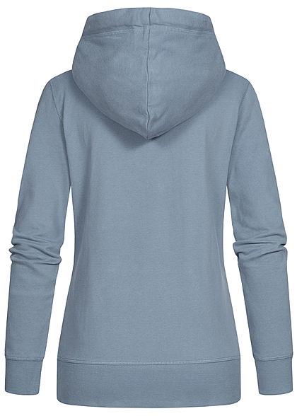 Tom Tailor Damen Logo Hoodie Kapuze Tunnelzug Kängurutasche Frontprint soft mittel blau