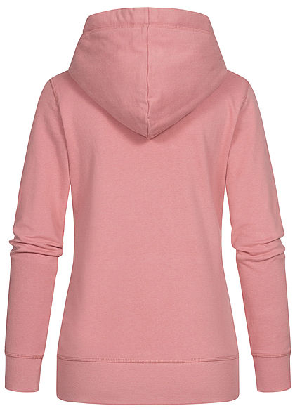Tom Tailor Damen Logo Hoodie Kapuze Tunnelzug Kängurutasche Frontprint cozy rosa