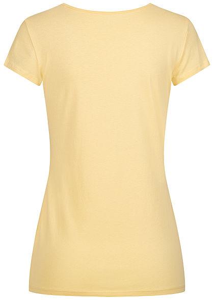 Tom Tailor Damen Basic T-Shirt mit Logo Print soft gelb