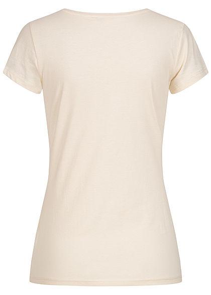 Tom Tailor Damen Basic T-Shirt mit Löwenprint vorne soft creme beige