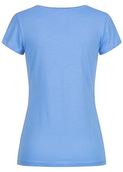Tom Tailor Damen Basic T-Shirt mit Löwenprint vorne fresh mid blau