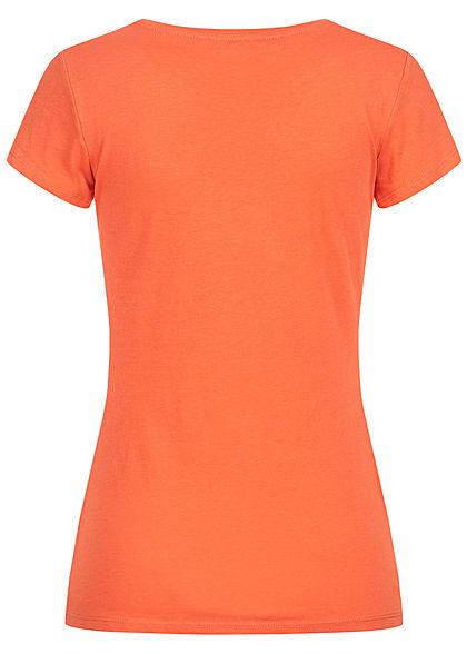 Tom Tailor Damen Basic T-Shirt mit Löwenprint vorne burnt coral orange