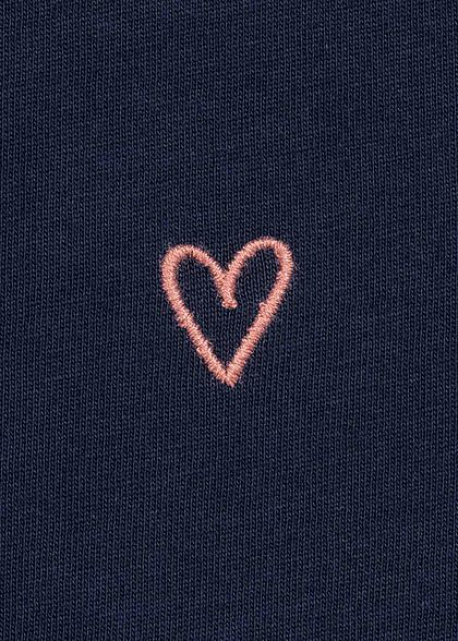 Tom Tailor Damen Slim Fit T-Shirt mit Herz Stickerei real navy blau