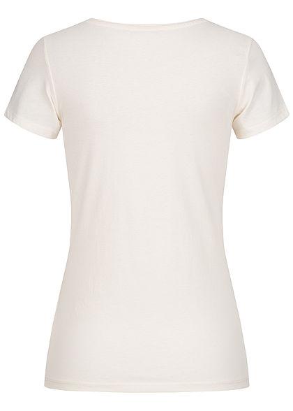 Tom Tailor Damen Basic Jersey Logo Print T-Shirt gardenia weiss