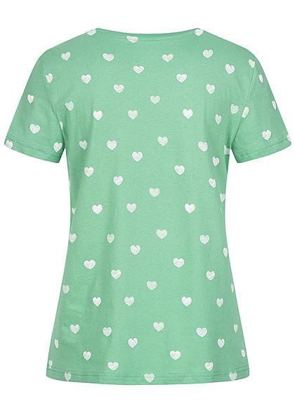 Tom Tailor Damen T-Shirt Allover Print Herz Muster grün weiss