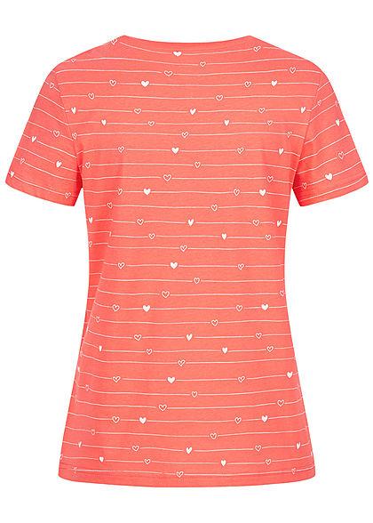 Tom Tailor Damen T-Shirt Allover Print Herz Muster & Streifen coral rot weiss