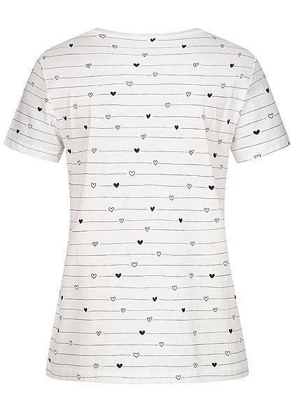 Tom Tailor Damen T-Shirt Allover Print Herz Muster & Streifen weiss schwarz