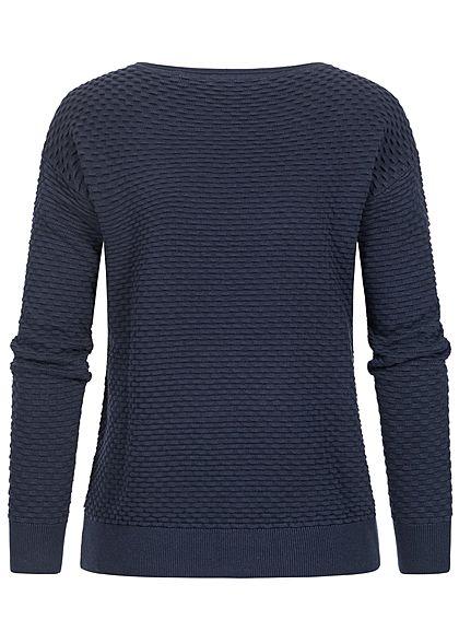 Tom Tailor Damen Struktur Pullover Sweater mit Waffelstruktur sky captain