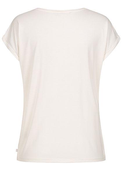 Tom Tailor Damen fließendes Basic T-Shirt Ärmelumschlag gardenia weiss