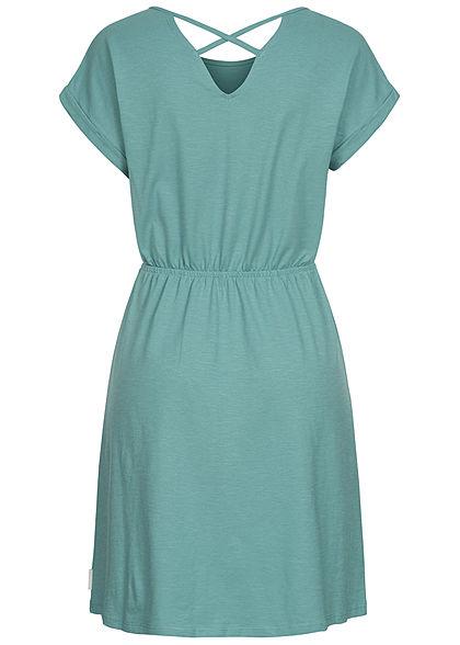 Tom Tailor Damen Jersey Mini Kleid Kreuzdetail Streifen Muster mineral stone blau