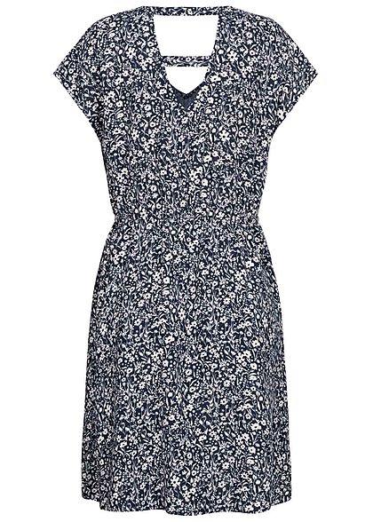 Tom Tailor Damen V-Neck Viskose Kleid Taillengummibund Blumen Muster navy blau
